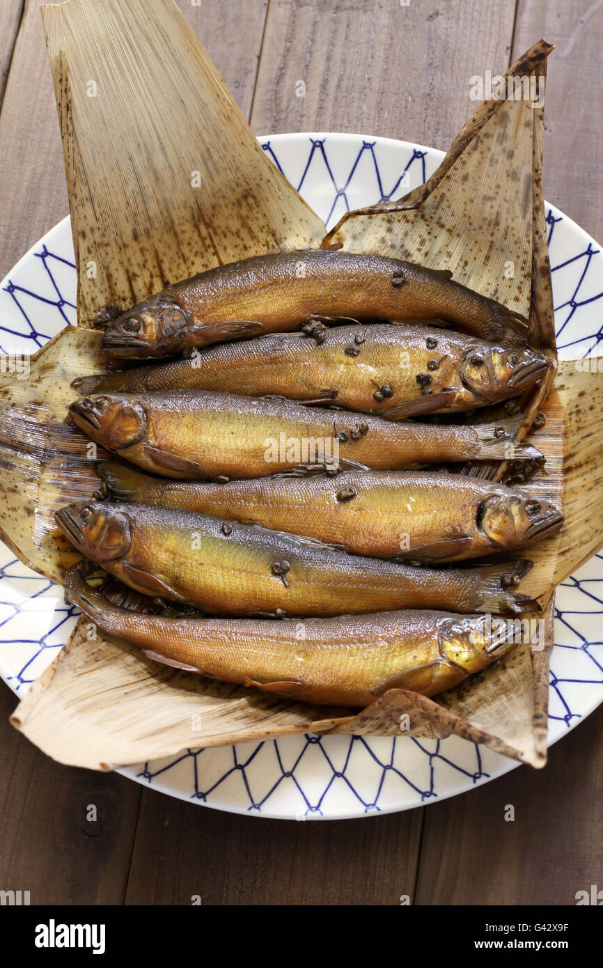 Ayu is stewed until its bones gets soft, and flavored with Japanese pepper. - Stock Image