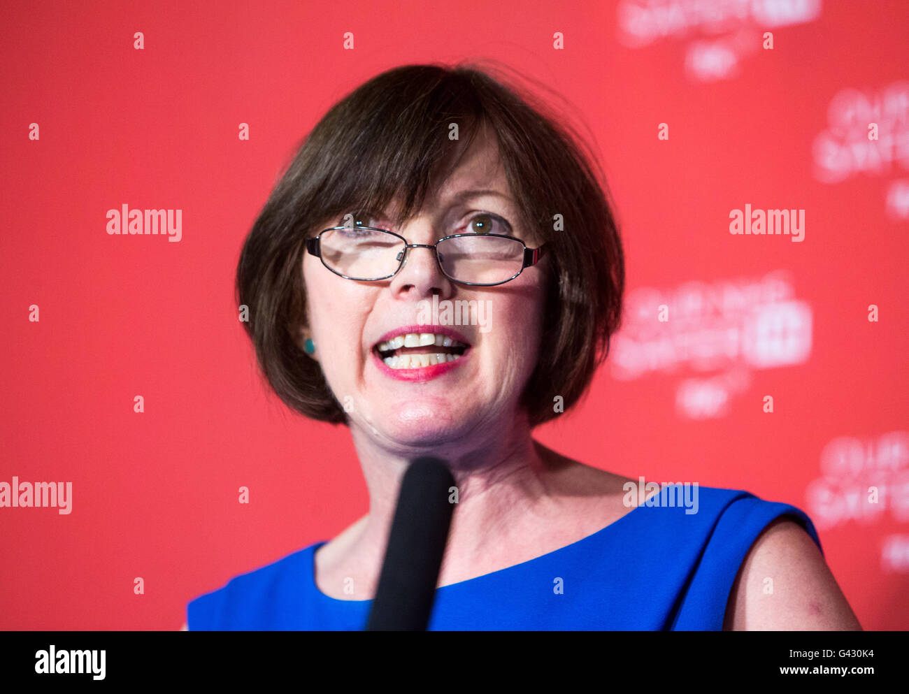 Francis O'Grady,General secretary of the Trade Union Congress,gives a speech on why we should remain in the - Stock Image