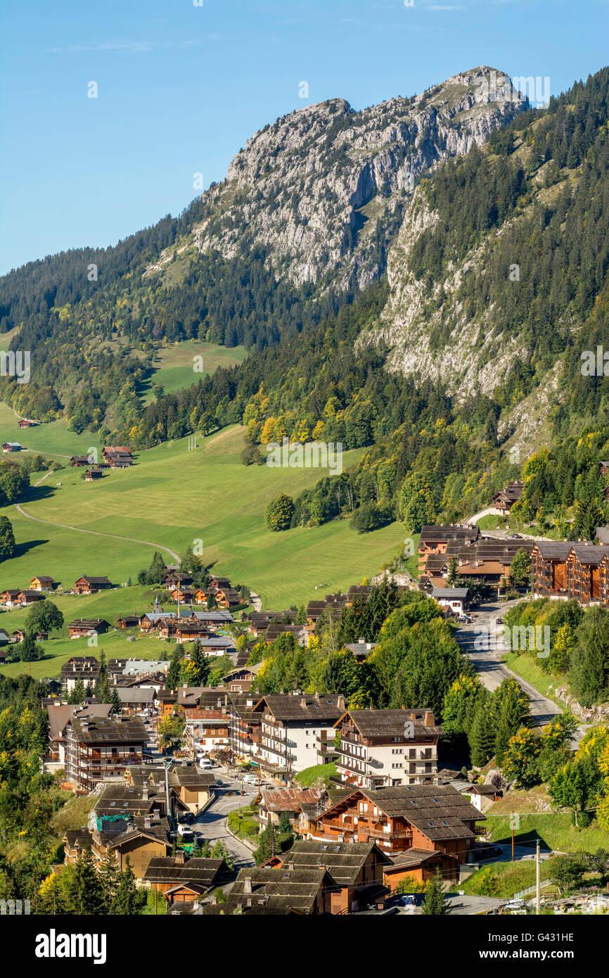 Le Chinaillon, le Grand Bornand ski resort, Haute Savoie, Auvergne-Rhones-Alpes, France, Europe - Stock Image