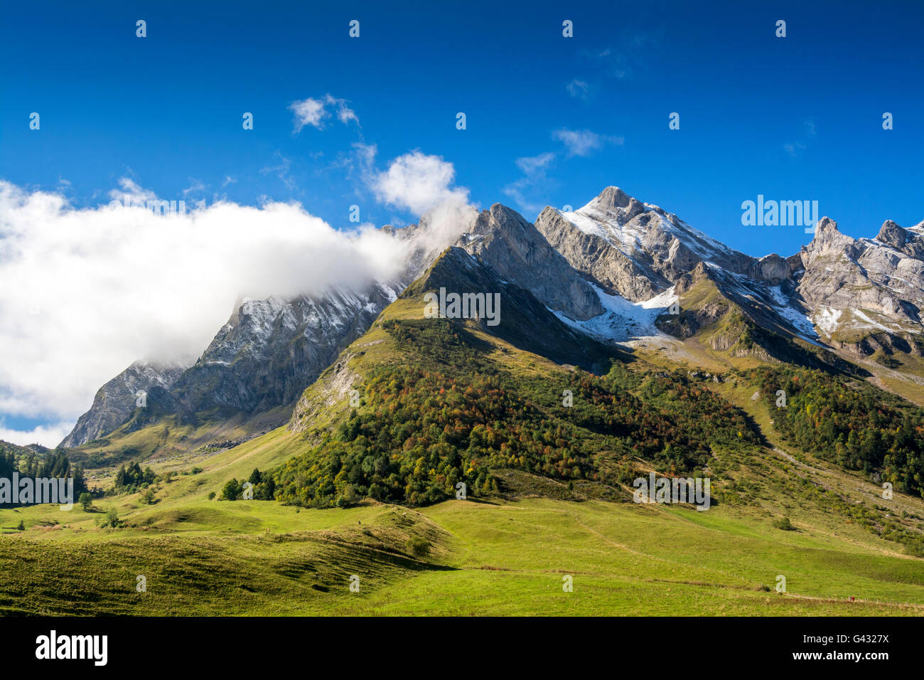 Col des Aravis in the French Alps, Haute Savoie Stock Photo