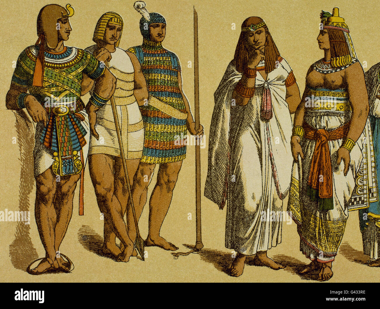 Egypt. Pharaoh with war clothing surrounded by aristocratic women. - Stock Image