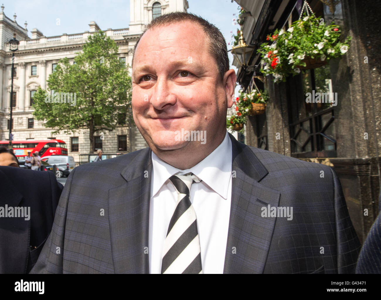 Mike Ashley, founder of sports clothing retailer Sports Direct arrives to give evidence to the Parliamentary committee - Stock Image