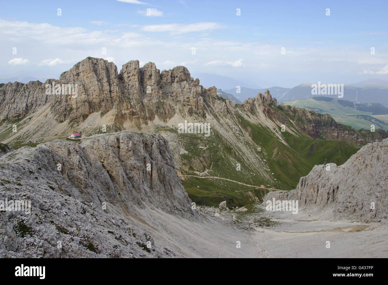 Tierser Alp and Roßzähne, Schlern Group, Dolomites, Italy - Stock Image