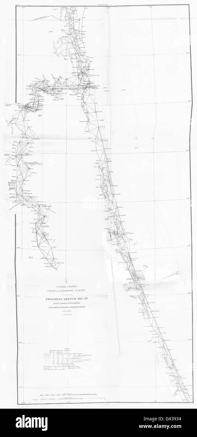 FLORIDA East coast USCGS: Amelia Island to Halifax river ...