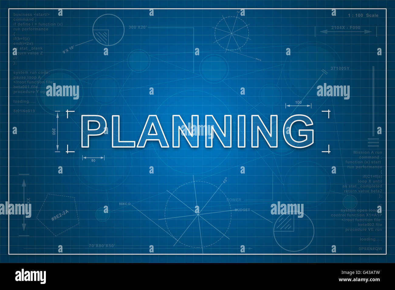 Planning on paper blueprint background business concept stock photo planning on paper blueprint background business concept malvernweather Image collections