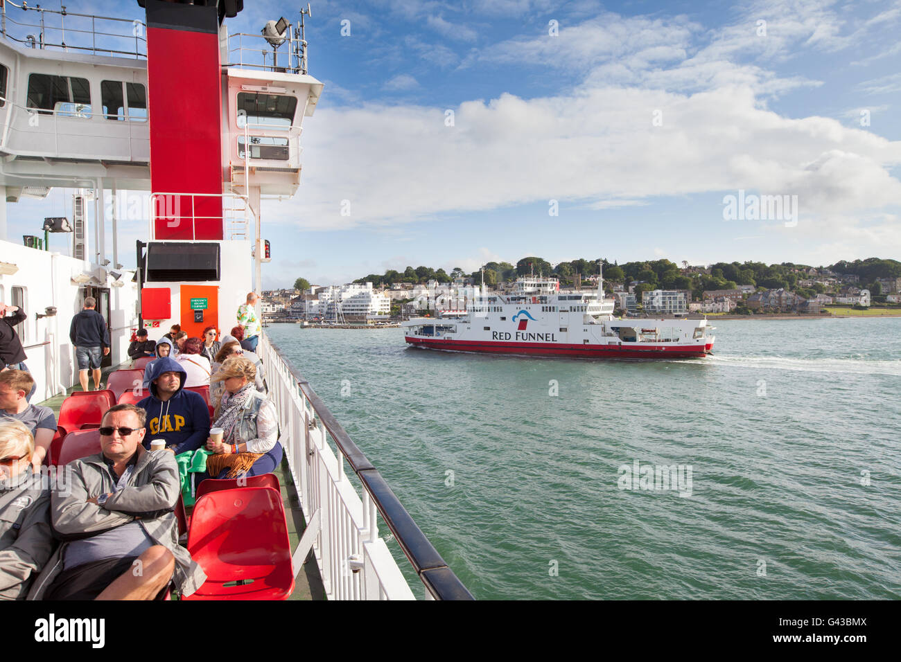 Red Funnel Ferry crossing The Solent between Southampton and Cowes on the Isle of Wight - Stock Image