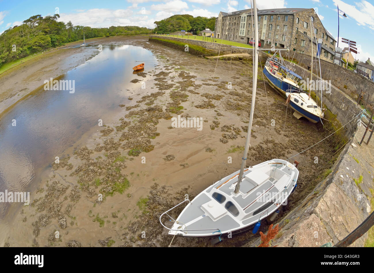Summer landscape with old boats in Ireland  county - Stock Image