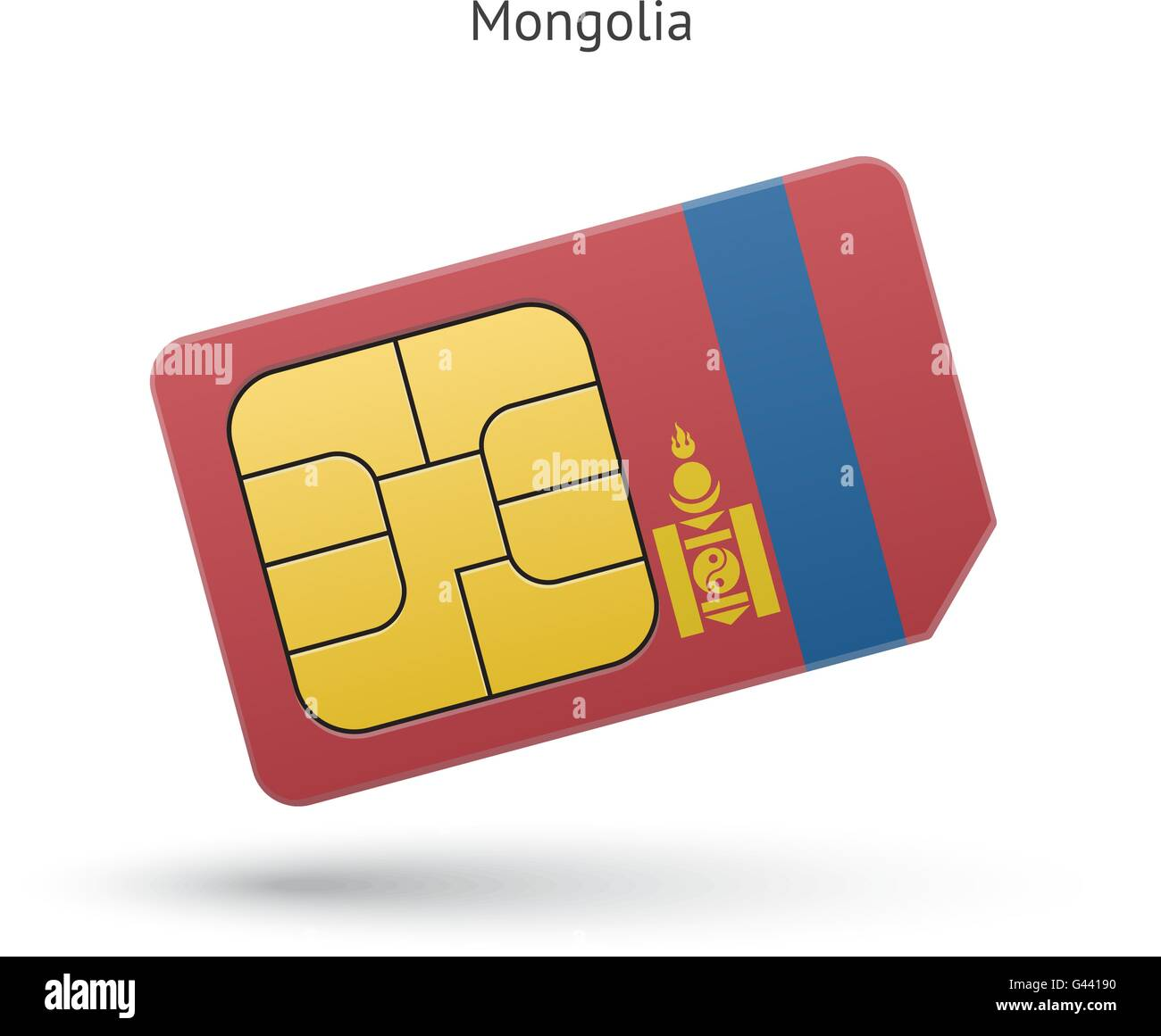 Mongolia mobile phone sim card with flag. - Stock Vector