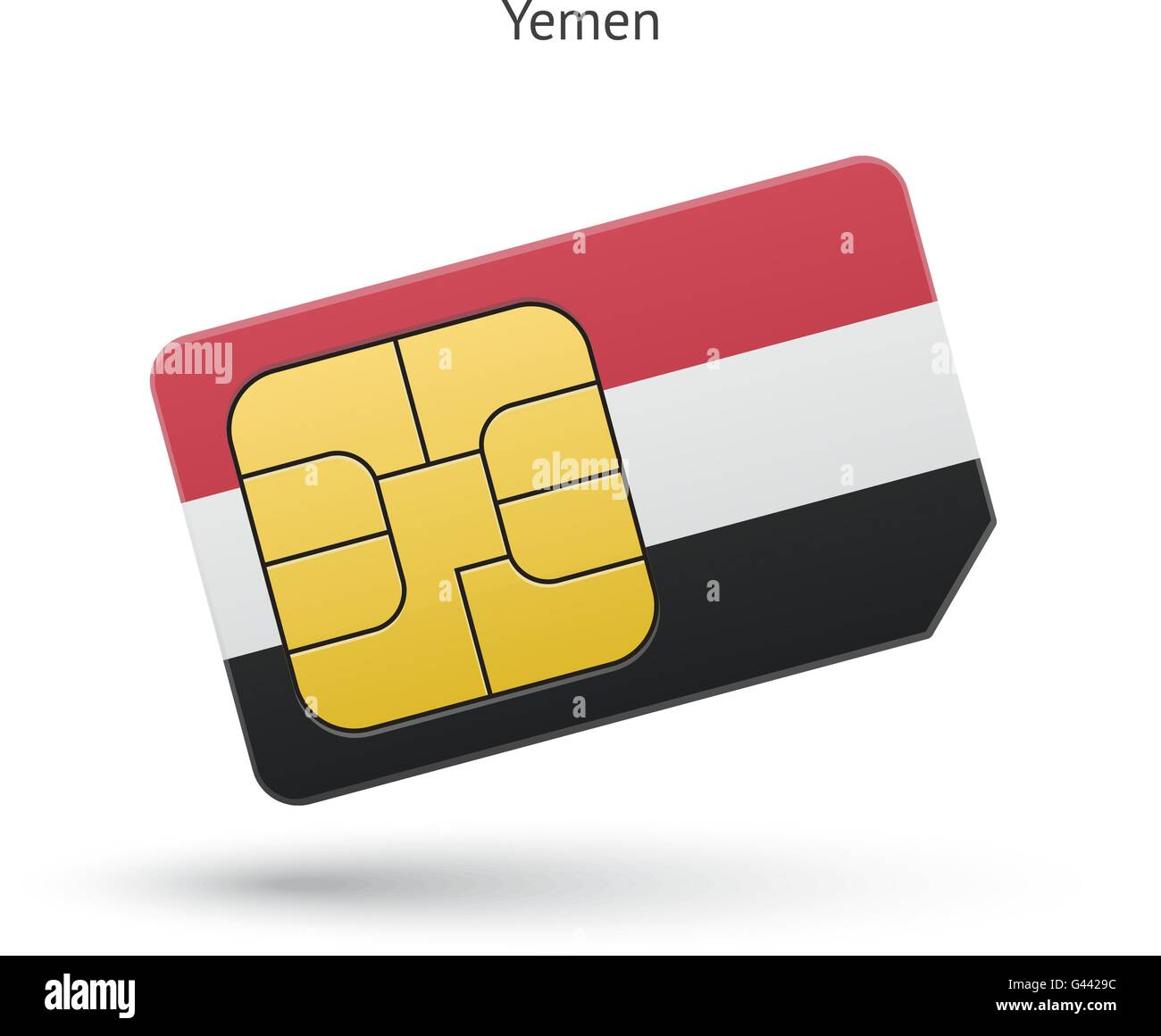Yemen mobile phone sim card with flag. - Stock Vector
