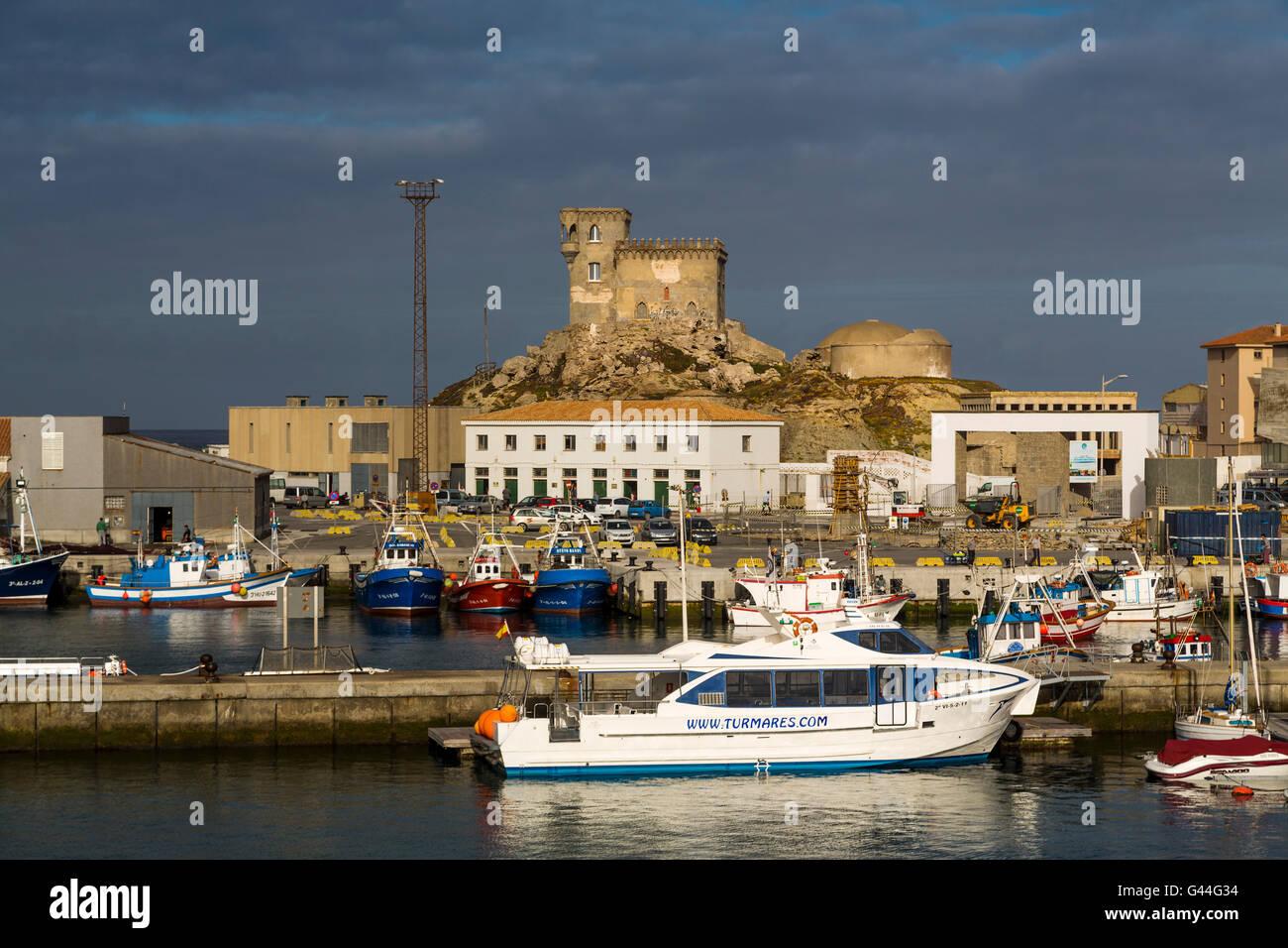 Boats in the fishing port of Tarifa, Costa de la Luz, Cadiz province, Andalusia, Spain Europe Stock Photo