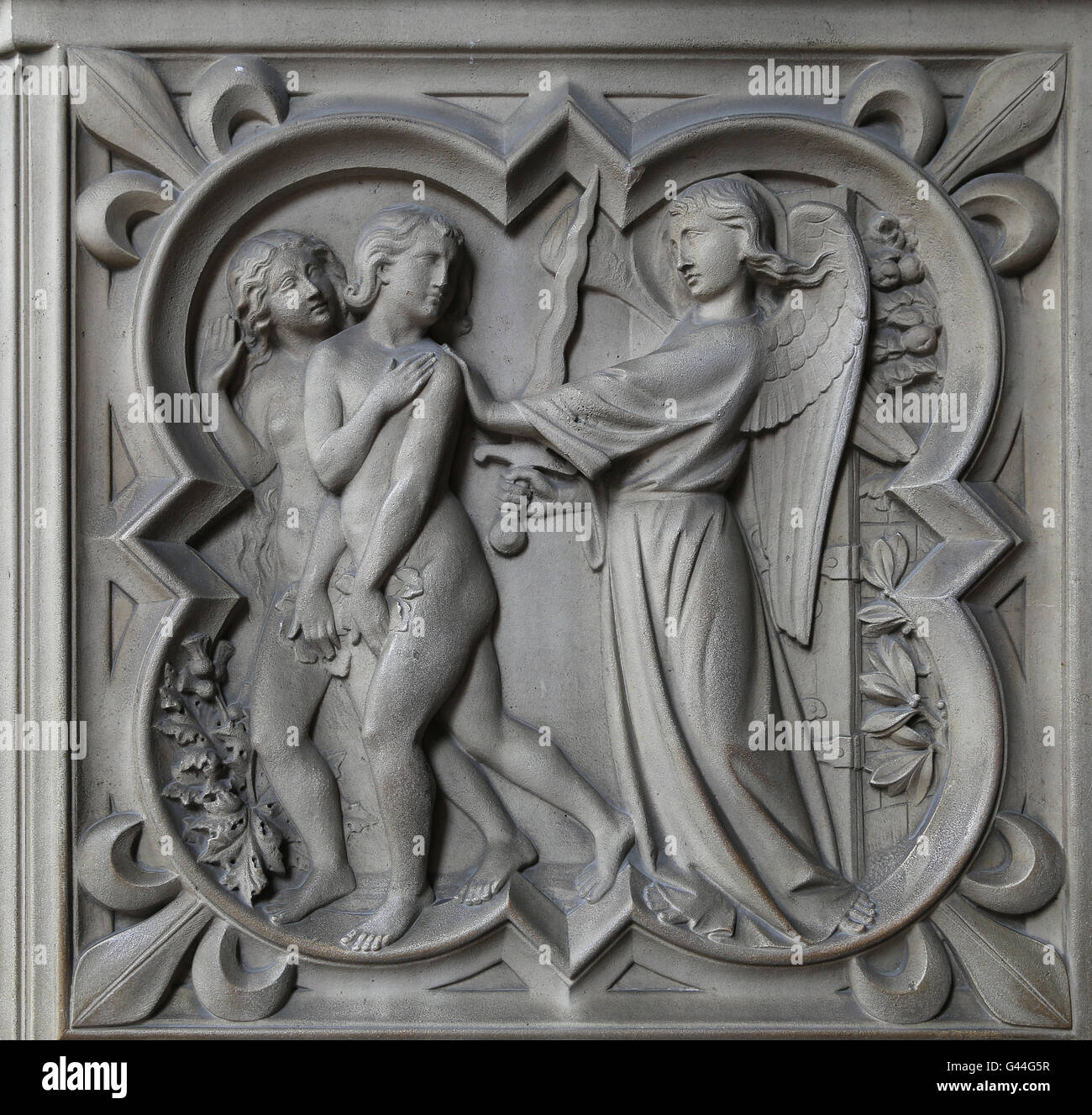 The expulsion of Adam and Eve from the Garden of Paradise. Relief. Genesis. 13th c. La Sainte-Chapelle, Paris, France. - Stock Image