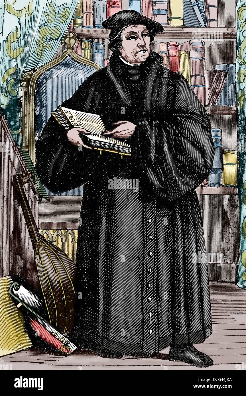 Martin Luther (1483-1546). German reformer. Figure of Protestant Reformation. Engraving, 19th C. Color. Stock Photo