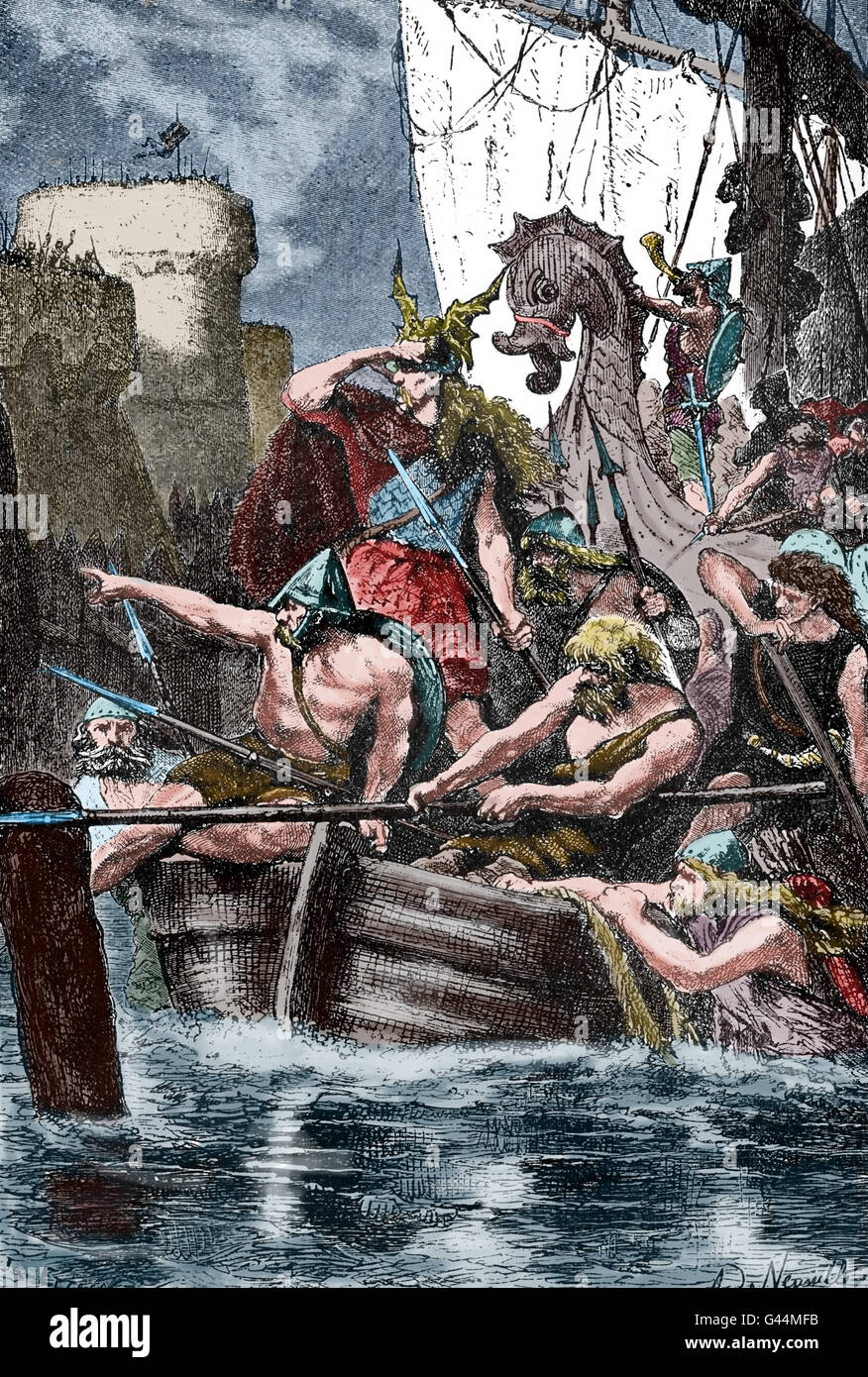Vikings attacking the Mediterranean coast. 10th century. Engraving. Color. - Stock Image