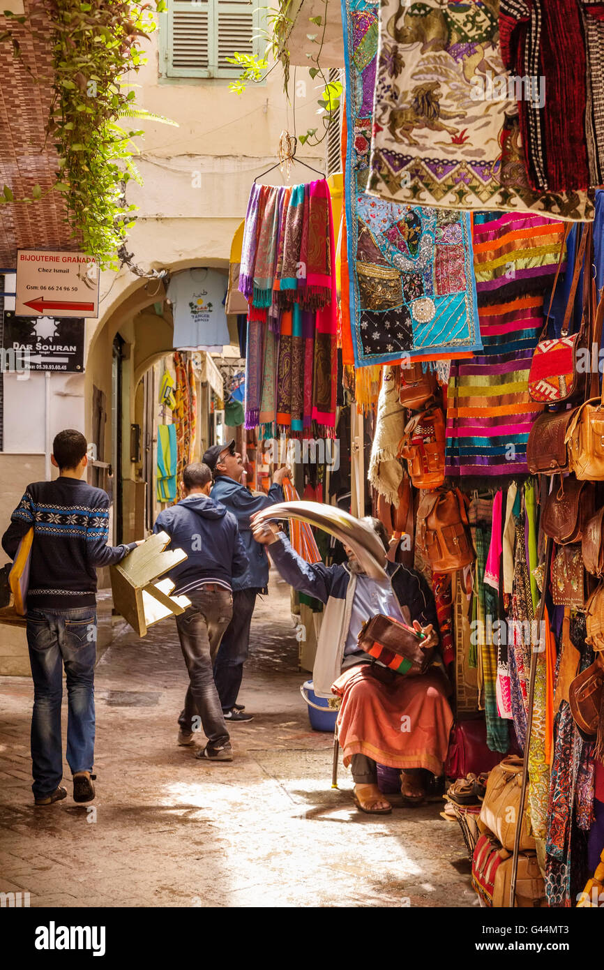 Souvenirs shop. Medina Grand Socco, the great souk, old city Tangier. Morocco Africa - Stock Image