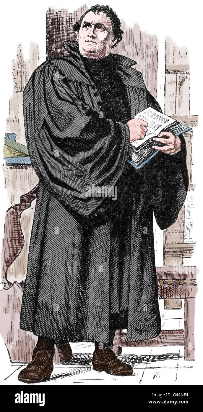 Martin Luther (1483-1546). German reformer. Figure of Protestant Reformation. Engraving, 19th C. - Stock Image