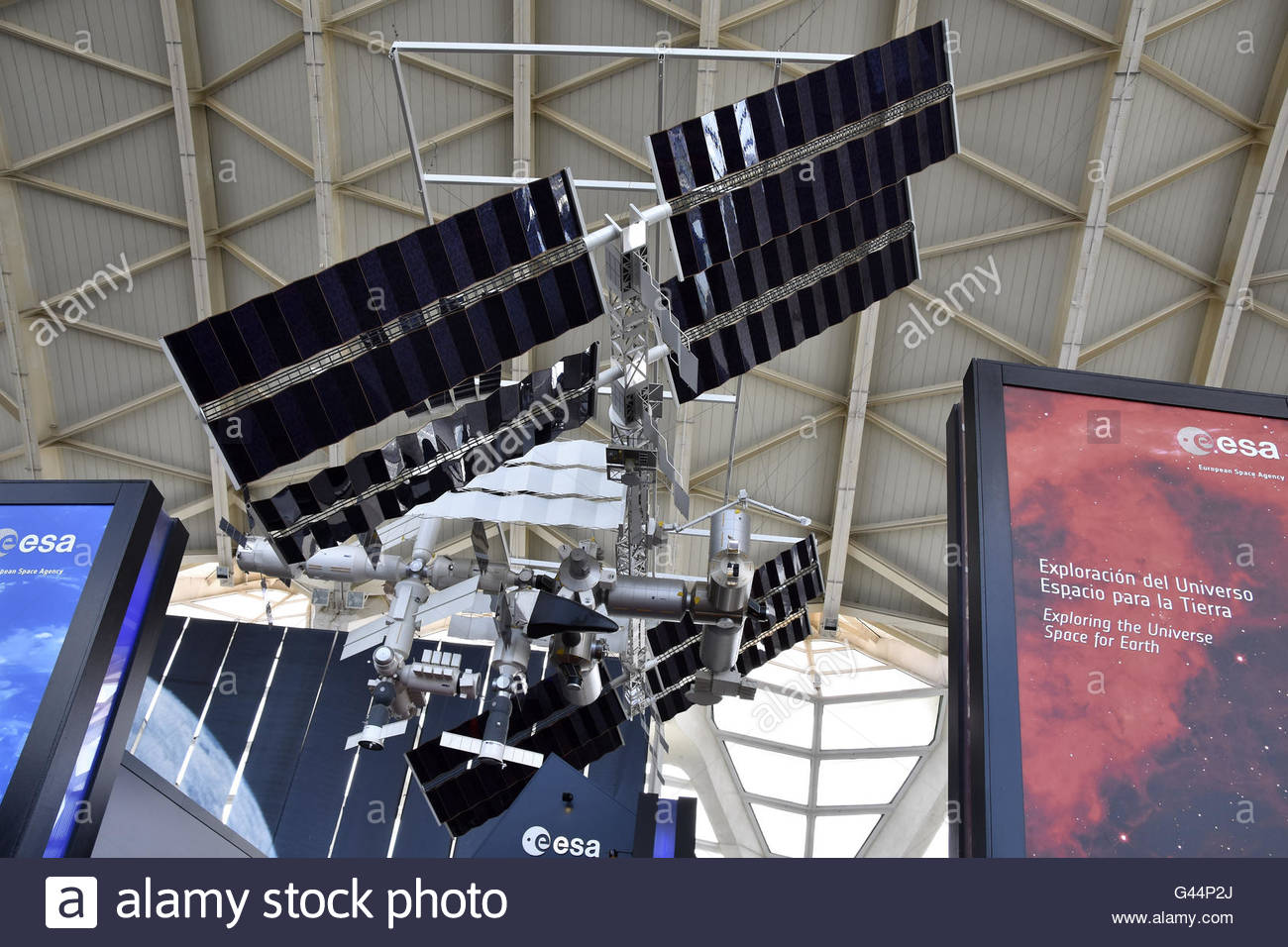 Model of  European Space Agency's (ESA) International Space Station (ISS) displayed at Science Museum in Valencia - Stock Image