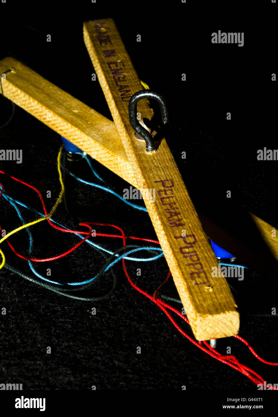 Close-up of a control bar for a string puppet - Stock Image