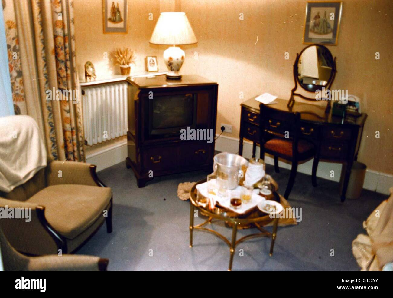 Room No 10 at The West Park Lodge  Hotel Nr Hadley Wood today (Sun) where a police raid took place early this morning Stock Photo