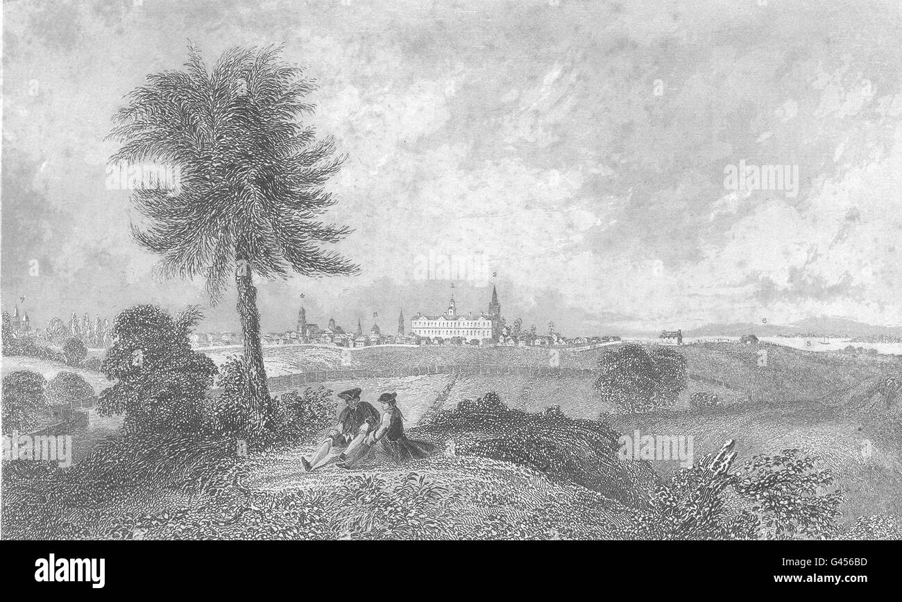 NEW YORK: South East view of New York City in 1768., antique print 1849 - Stock Image
