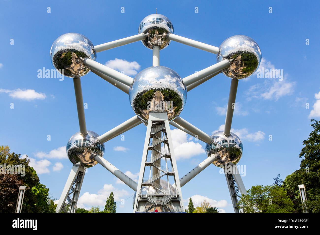The Atomium in Brussels, Belgium, at the exhibition grounds, - Stock Image