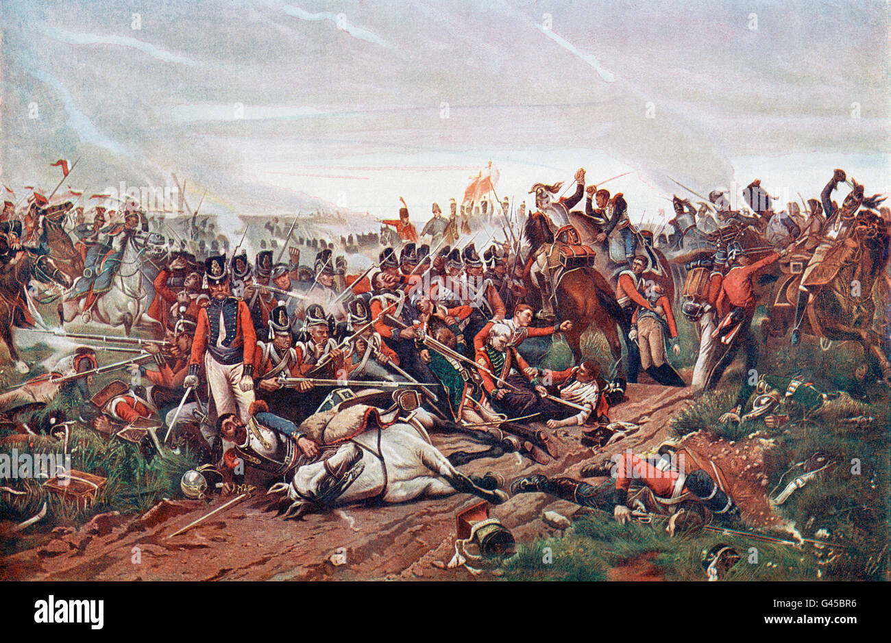The Battle of Waterloo, Belgium, 18 June 1815.  French Cuirassiers charging a British square. After the painting Stock Photo