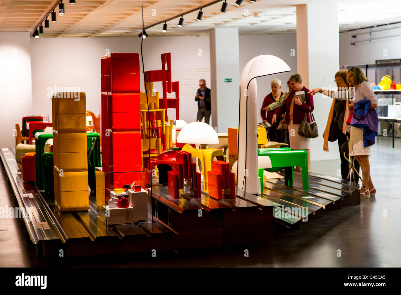 ADAM, Art & Design Atomium Museum, Brussels, permanent exhibition Plasticarium, design of  objects of the 70s - Stock Image