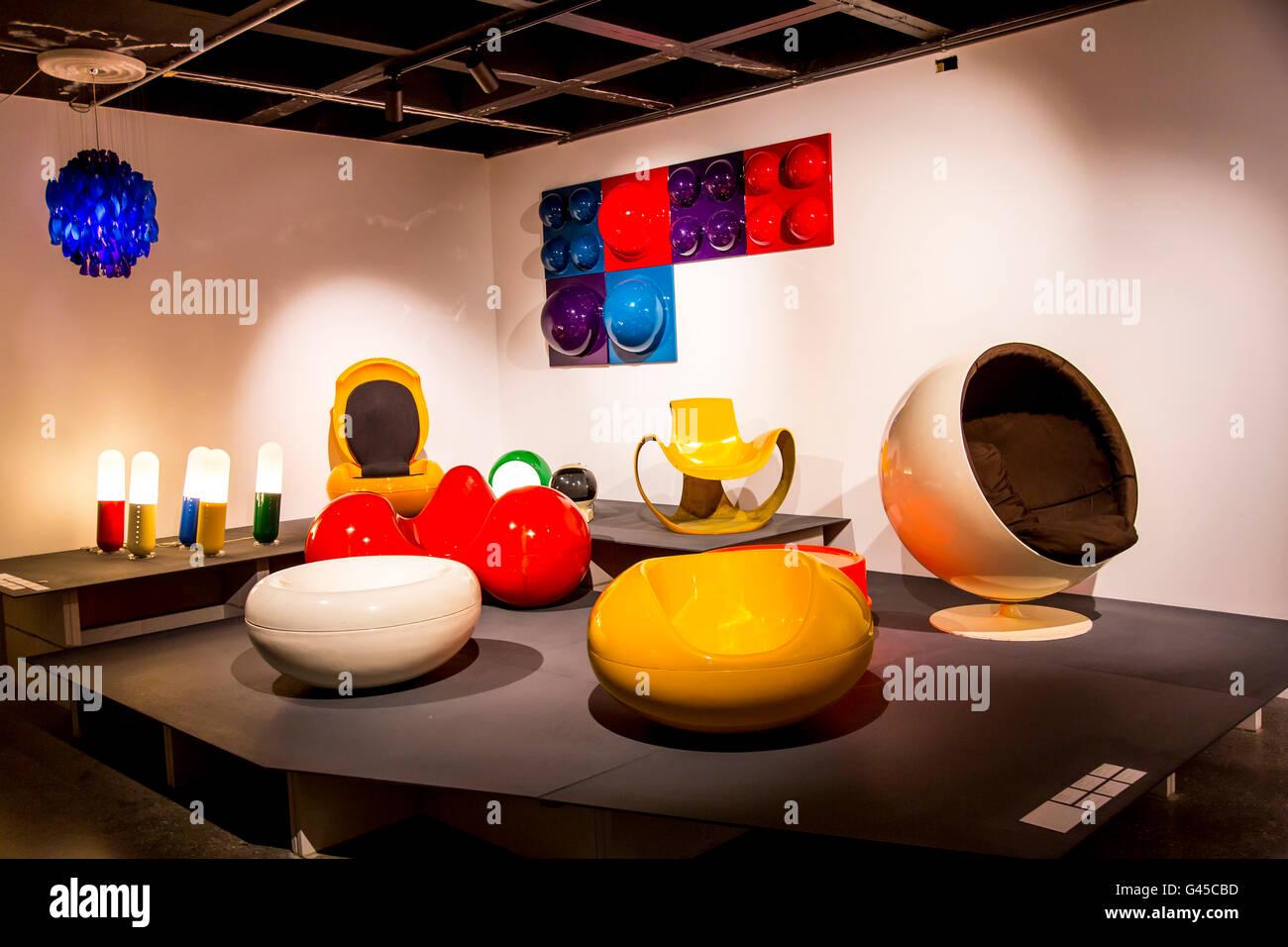 ADAM, Art & Design Atomium Museum, Brussels, permanent exhibition Plasticarium, design of  objects of the 70s - Stock Image