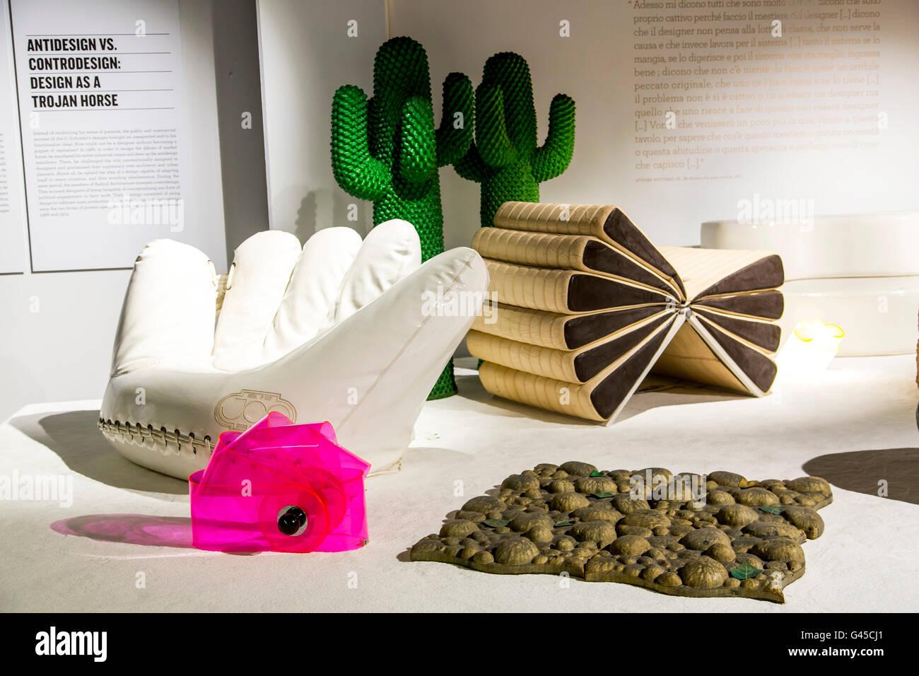 ADAM, Art & Design Atomium Museum, Brussels, permanent exhibition Plasticarium, design of  objects of the 70s made Stock Photo