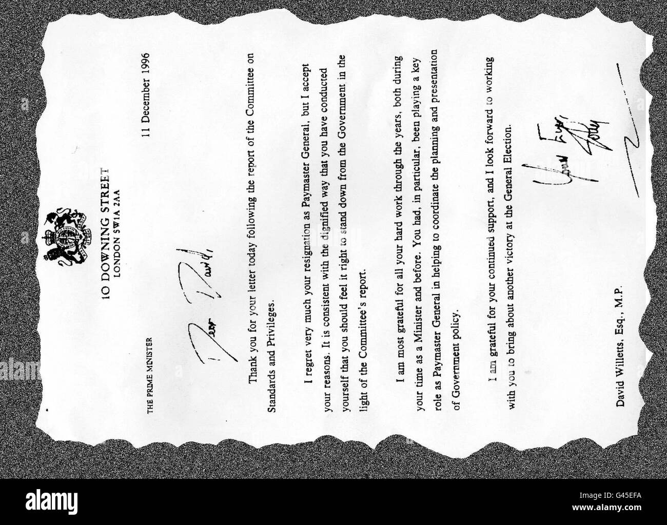 The letter from Prime Minister John Major to David Willetts accepting his resignation as Paymaster General. Willetts quit office within minutes of publication of a report which accused him of dissembling - a word which can mean concealing or being insincere - before a Commons committee. Stock Photo