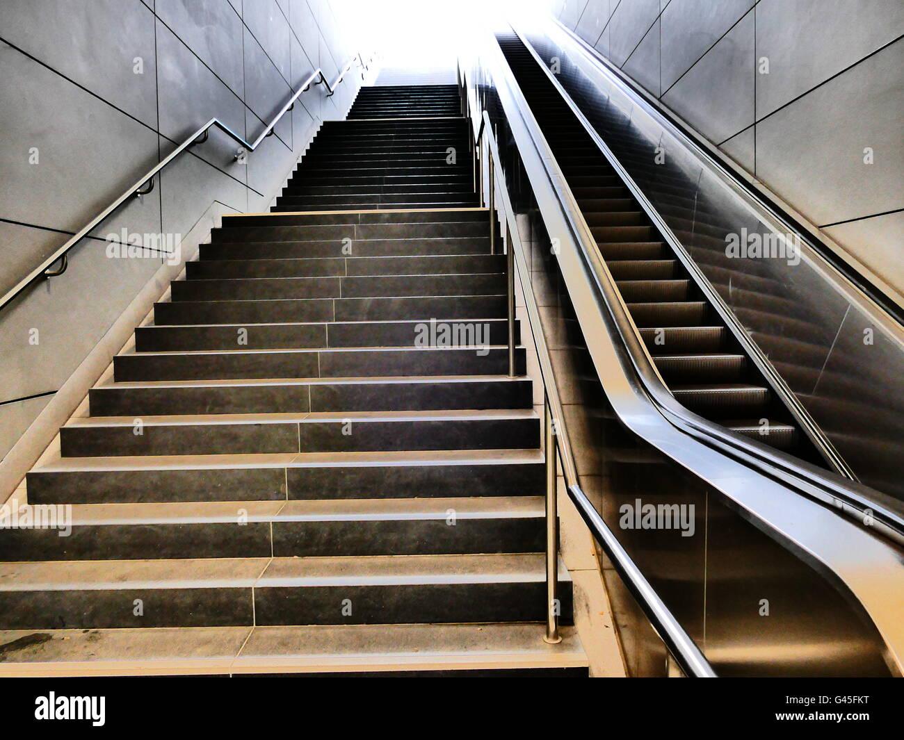 Europe Germany Hamburg metro Hafencity University empty escalator - Stock Image