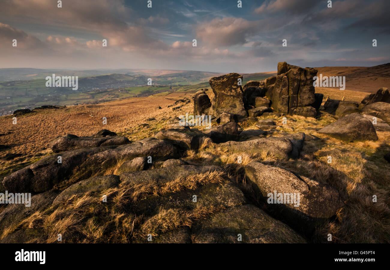 Kinder Stones, Pots and pans hill, Greenfield Saddleworth, UK - Stock Image