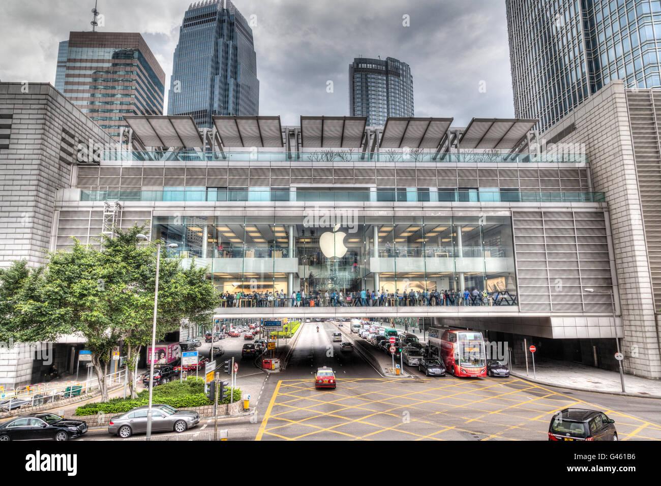 Hong Kong SAR, China - March 31, 2015: Crowd inside the Apple Store at International Finance Center, Hong Kong. - Stock Image