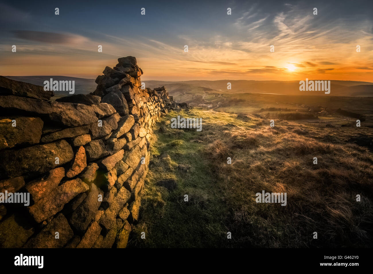 Millstone Edge, where the Pennine Way Crosses at Standedge, Marsden Moor on the Saddleworth Border - Stock Image