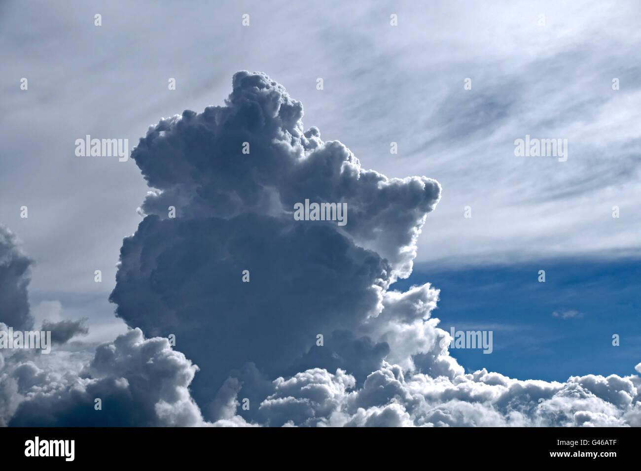Cumulonimbus thunderhead Clouds, Upper Bavaria, Germany, Europe. - Stock Image
