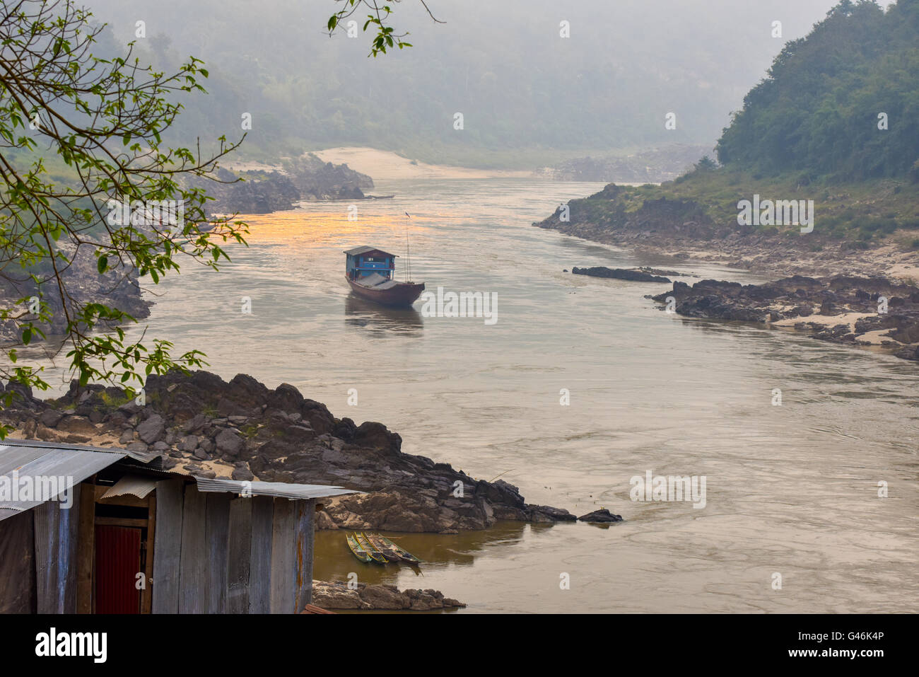 Boat on the Mekong rivers Laos - Stock Image
