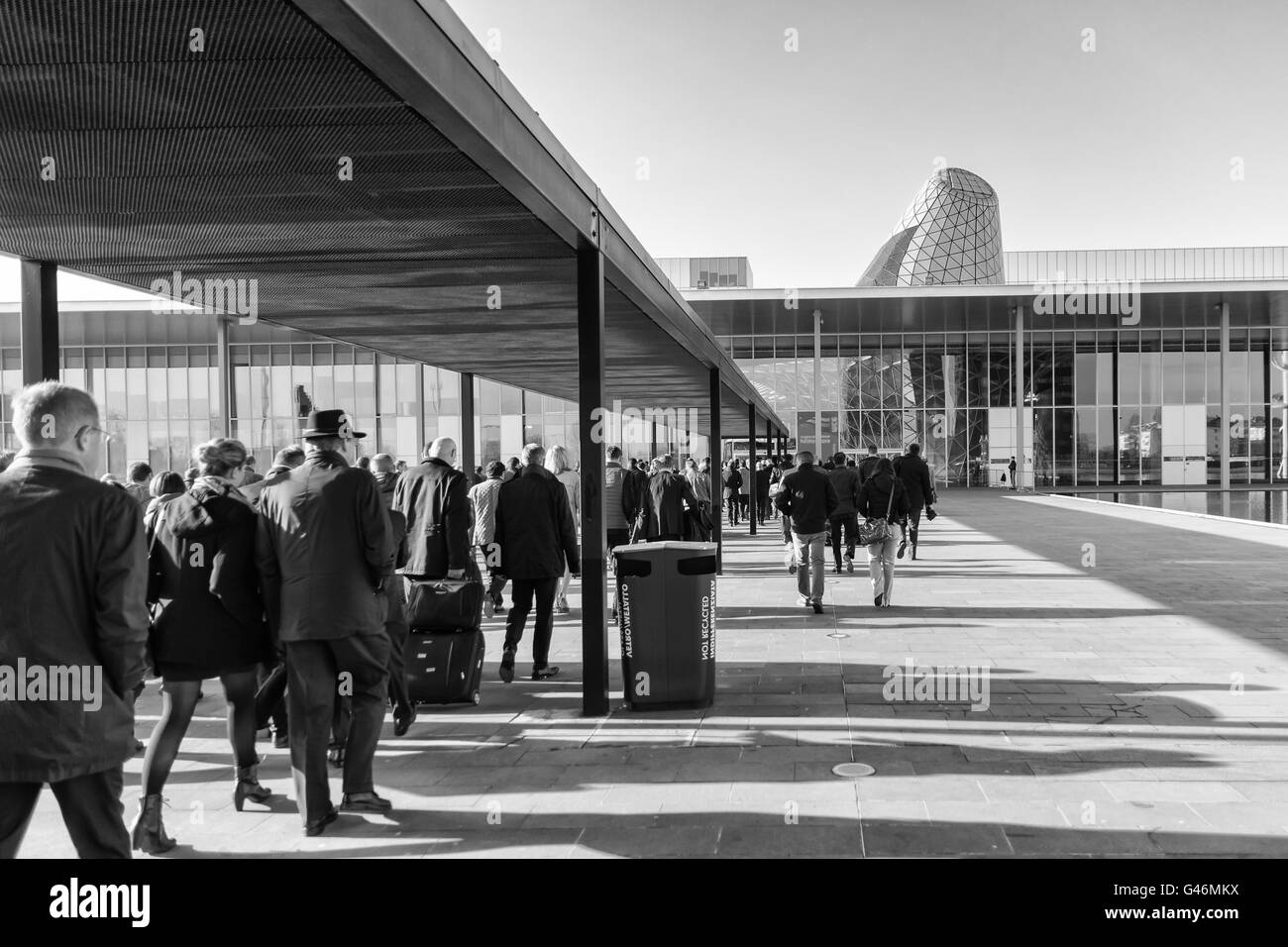 People come in new buildings fairs in Milan, italy. - Stock Image