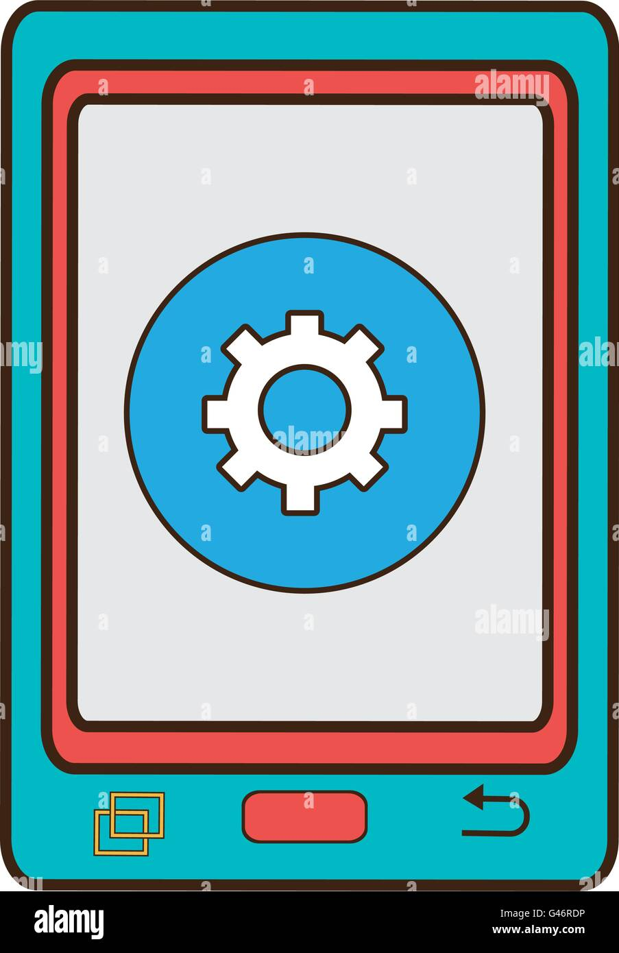 blue electronic device with media icon on the screen,vector grap - Stock Image