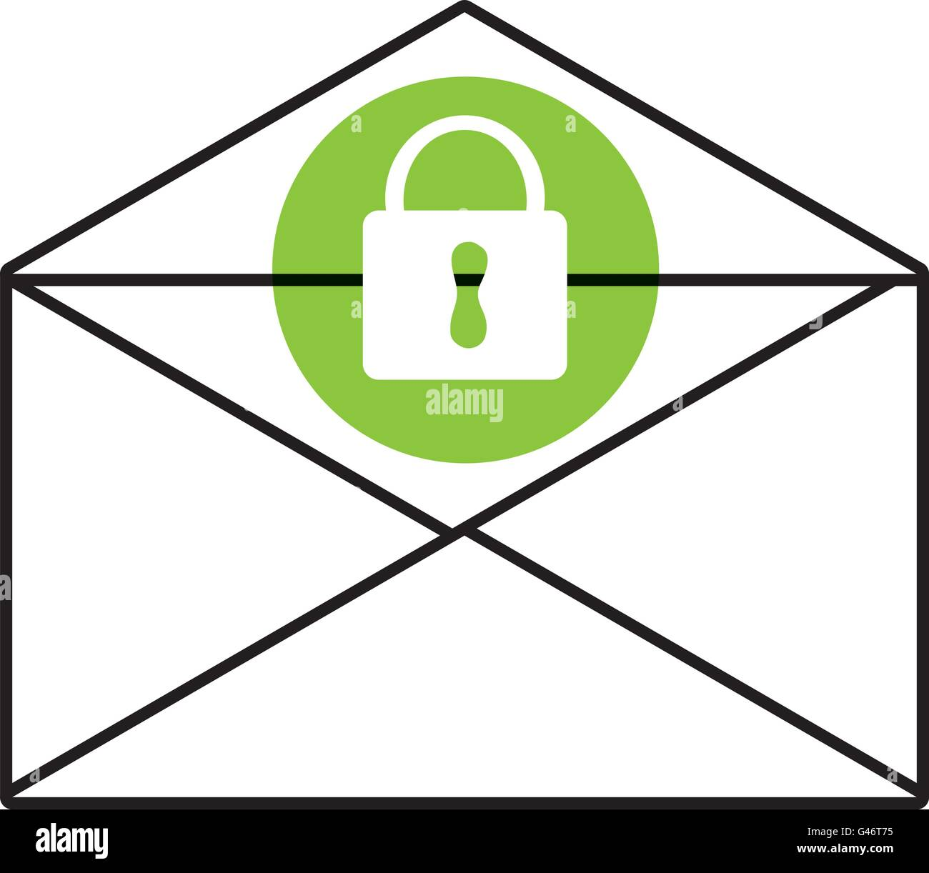 mail envelope and lock icon, vector graphic - Stock Image