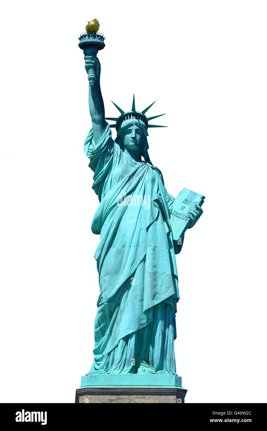 Front view of the Statue of Liberty in New York City on white background Stock Photo