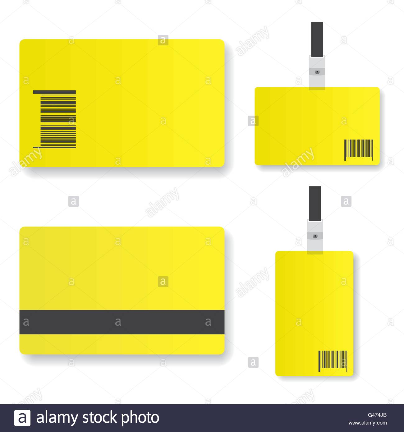 Blank yellow  id card illustration - Stock Image