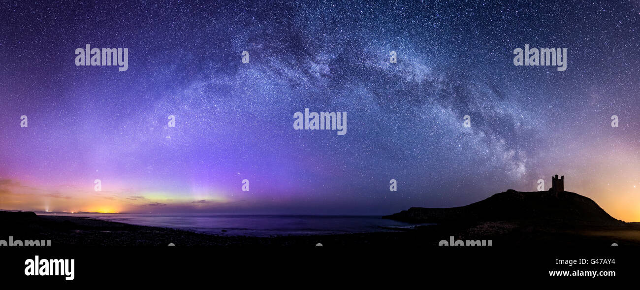 Lilburn Tower/Dunstanburgh Castle with the Milky Way and Northern Lights - Stock Image