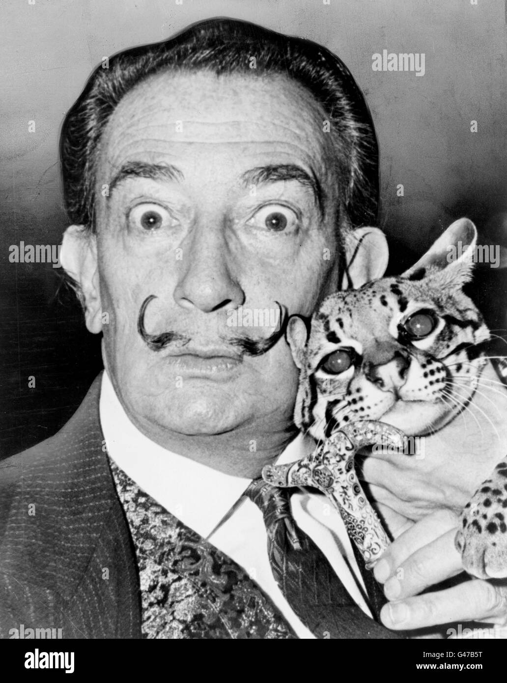 Salvador Dali, portrait by Roger Higgins, 1965 - Stock Image