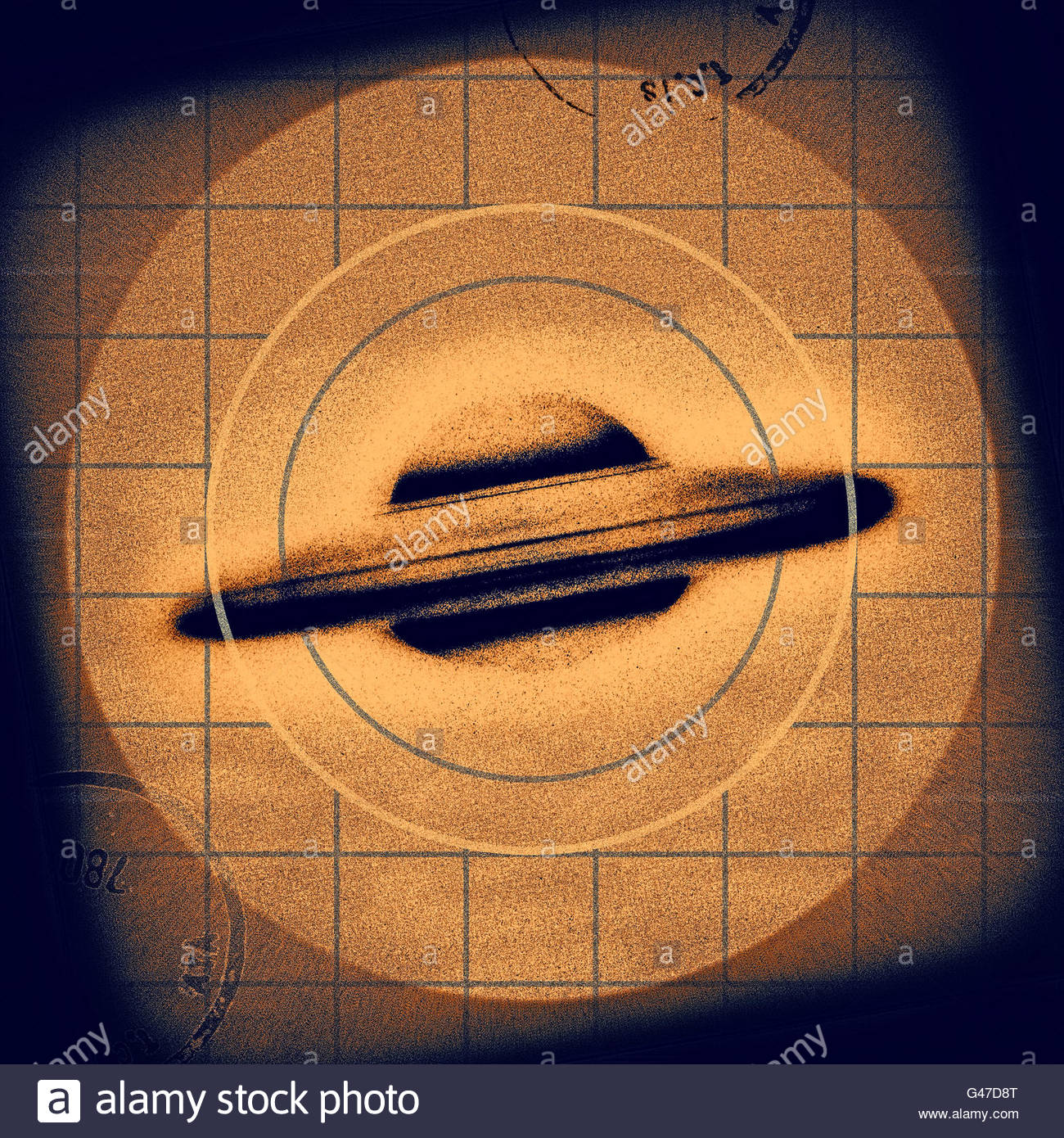 Retro UFO flying saucer sighting mid century atomic retro space age Stock Photo