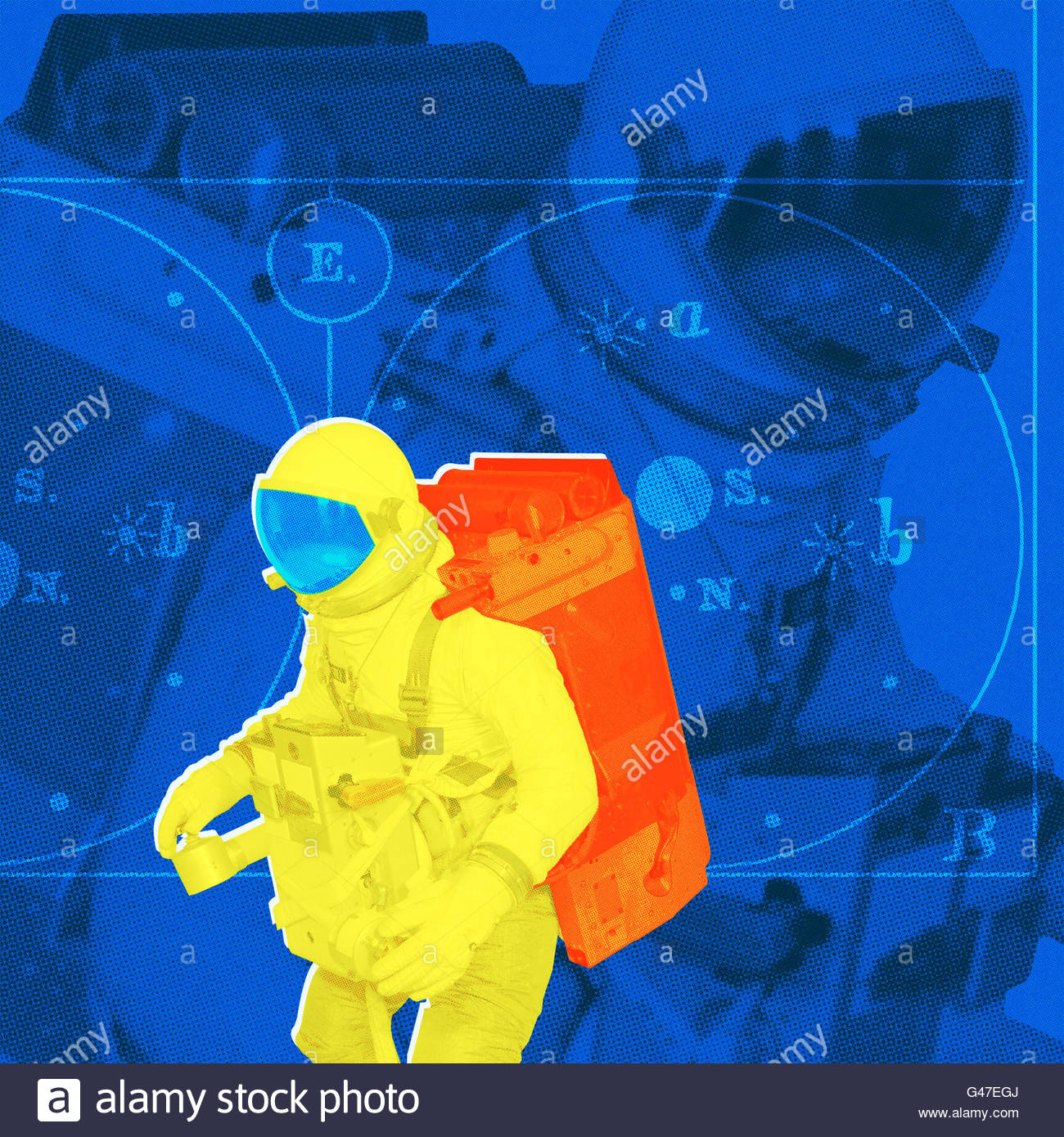 retro spaceman space walk anti gravity photo illustration - Stock Image