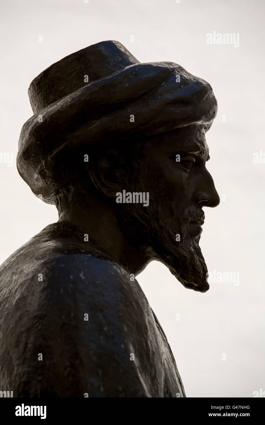 Bronze statue of great Jewish philosopher Moses Maimonides, in the Jewish Quarter. Cordoba City Andalusia, Spain, - Stock Image