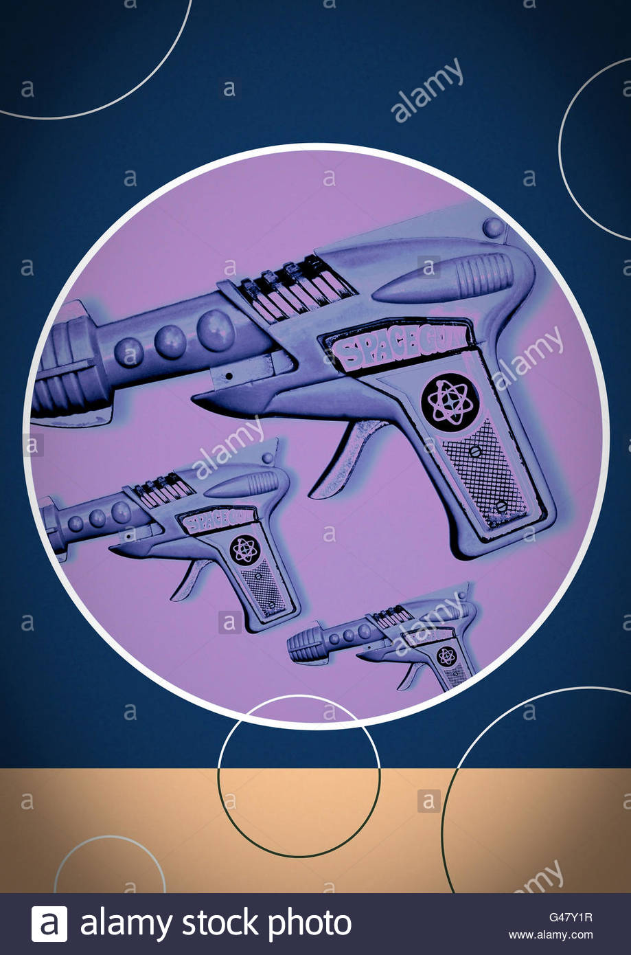 Ray gun repeat space tin toy design atomic blaster illustration - Stock Image