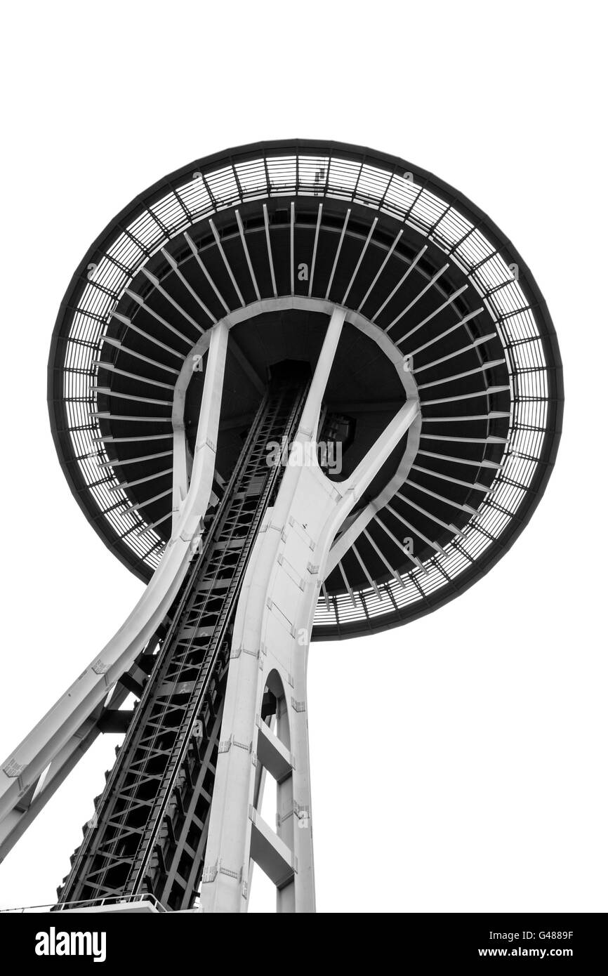 View from below the Space Needle in Seattle, Washington. Stock Photo