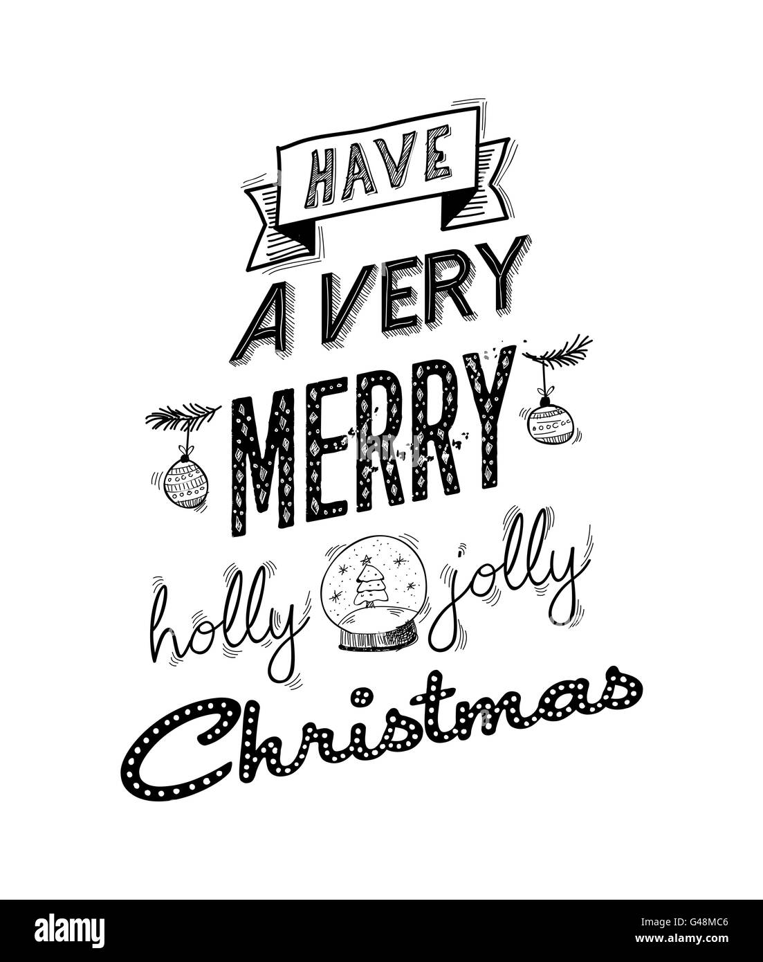 Merry christmas wish lettering handwritten design. Happy xmas wish ...
