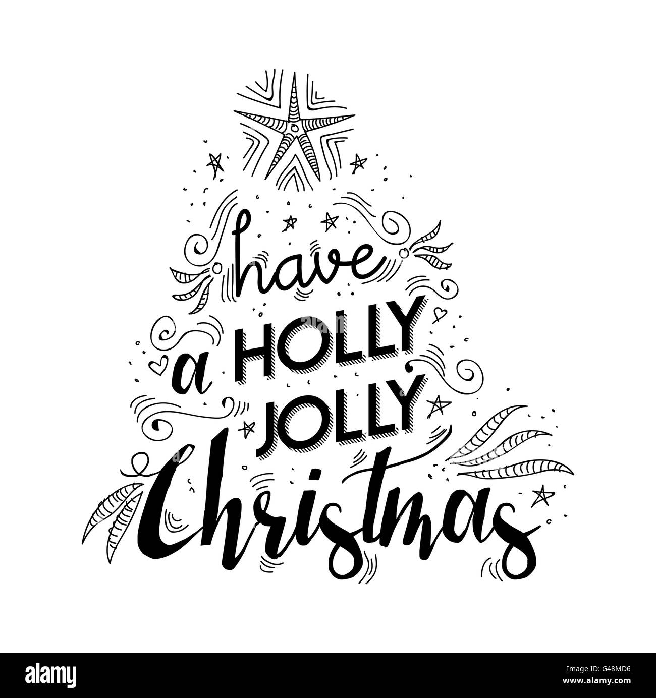 Merry christmas lettering handwritten design. Holly jolly happy xmas ...