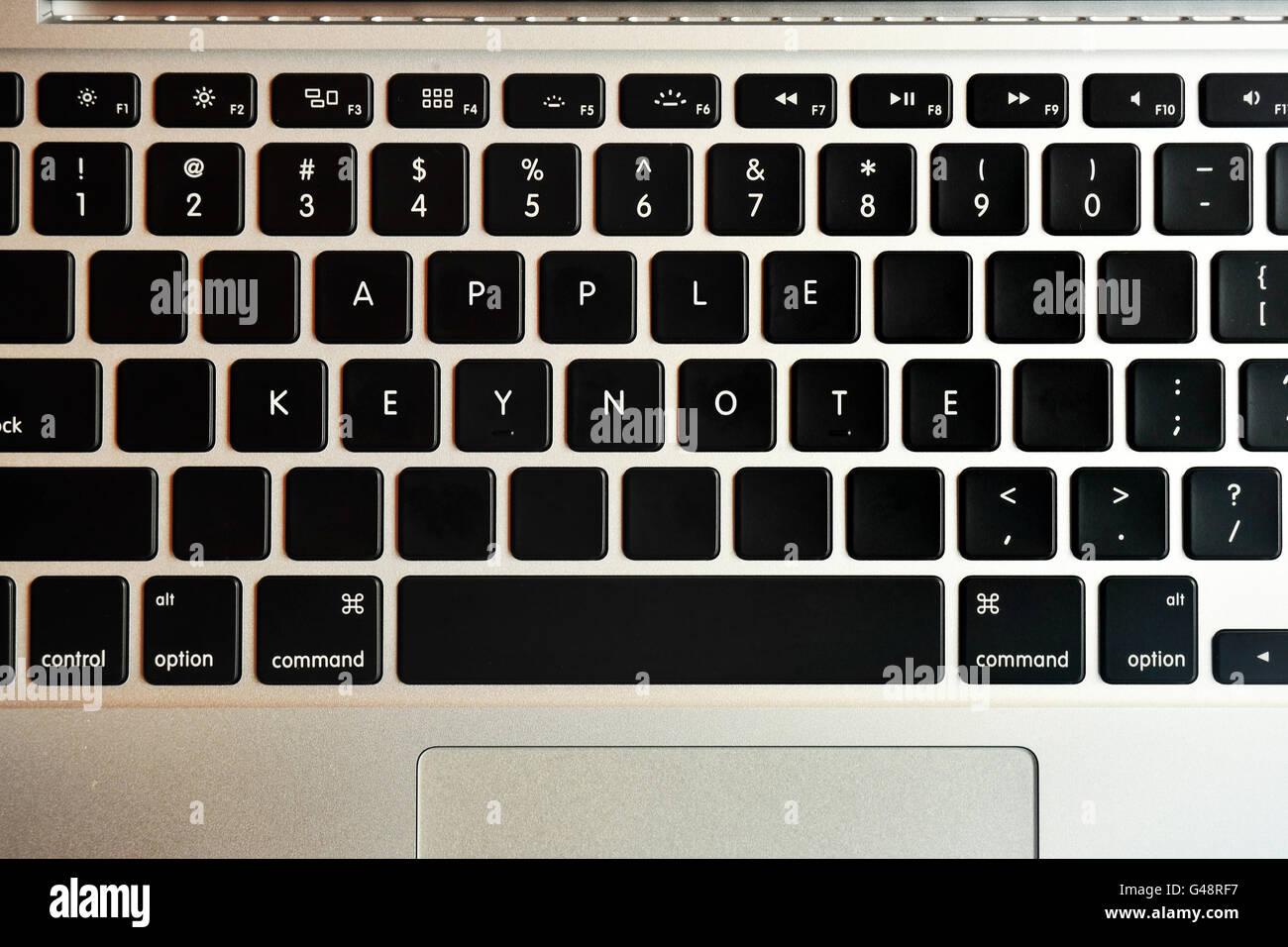 Apple Keynote written on a MacBook Pro keyboard. - Stock Image